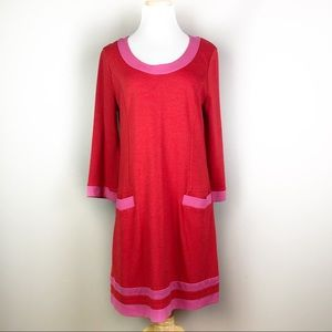 Boden Red & Pink Long Sleeve Shift Dress Size 6